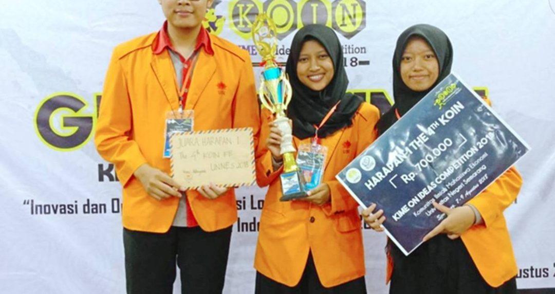 Juara Harapan 1 Mahasiswa Manajemen Rekayasa dalam LKTI KOIN 4th di UNNES